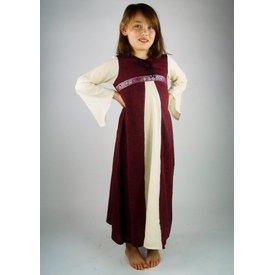 Pigens kjole Ariane, hvid-rød