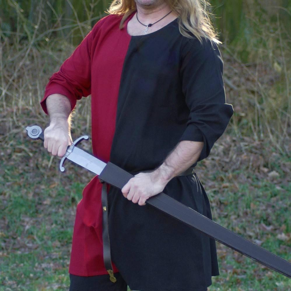 Tunica medievale mi-parti rosso-nero