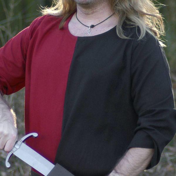 Mittelalterliche Tunika mi-parti rot-schwarz