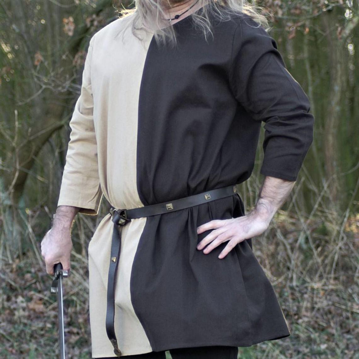 Mittelalterliche Tunika mi-parti naturbraun