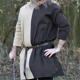 Medieval tunic mi-parti natural-brown