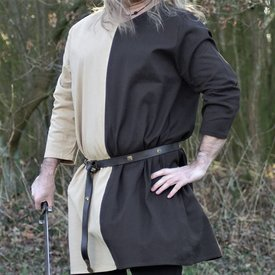Tunica medievale mi-parti marrone naturale