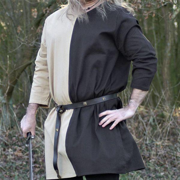 Middeleeuwse tuniek mi-parti naturel-bruin