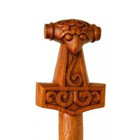 bengala de madeira com martelo de Thor