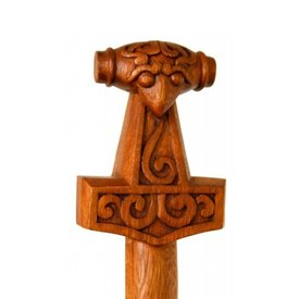 Wooden walking stick with Thor's hammer