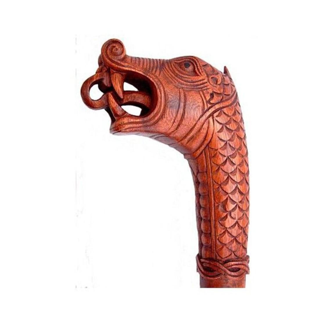 Bâton de marche en bois avec serpent Midgard
