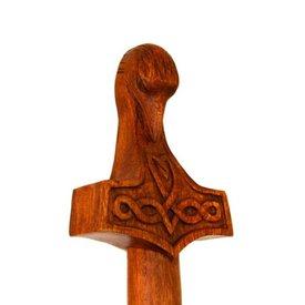 Drewniana laska z młotkiem i kruk głowy Thora