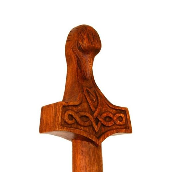 Bâton de marche en bois avec le marteau de Thor et la tête de corbeau