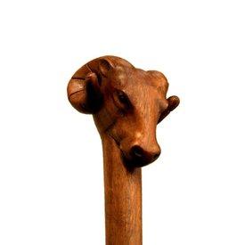 Trä käpp med Rams Head