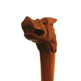 Bastone da passeggio in legno con la testa di Fenrir