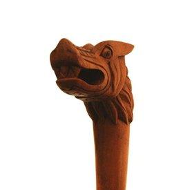 Drewniana laska z głową w Fenrir