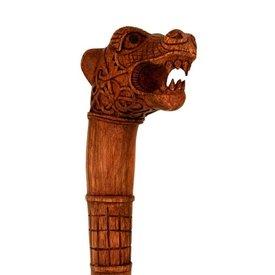 Drewniana laska z Oseberg głowa smoka
