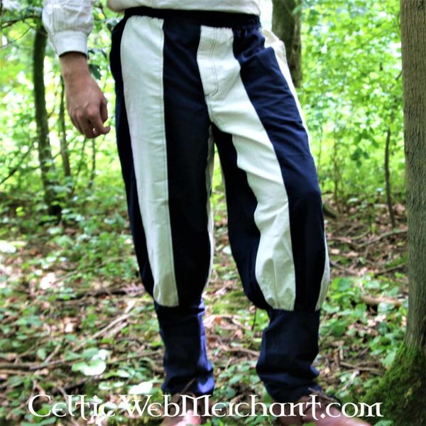 Pantalon Tudor du 16ème siècle bleu-naturel