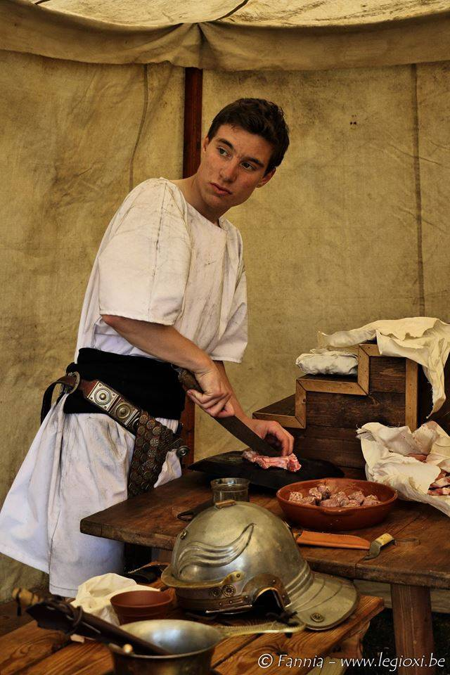 Roman legionairy preparing his meal