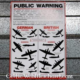 Poster di riconoscimento aeroplano WWII