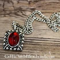 Tudor halskæde Elisabeth, røde perle, forsølvet
