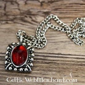 Tudor halsband Elisabeth, röd pärla, försilvrade