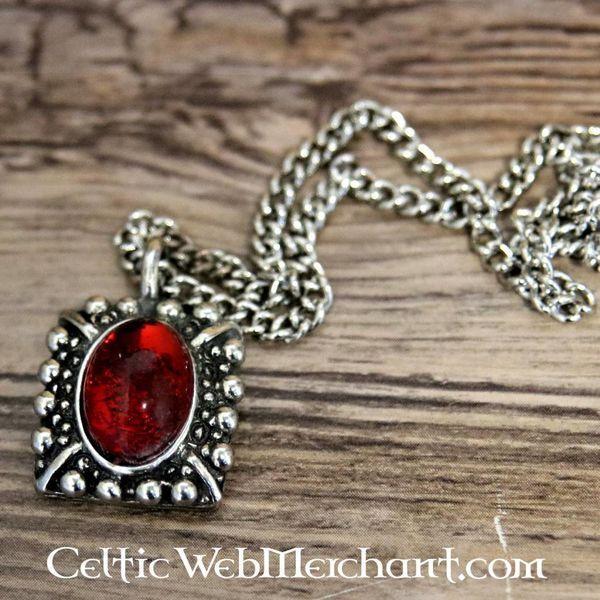 Tudor colar de Elisabeth, gem vermelho, prateado