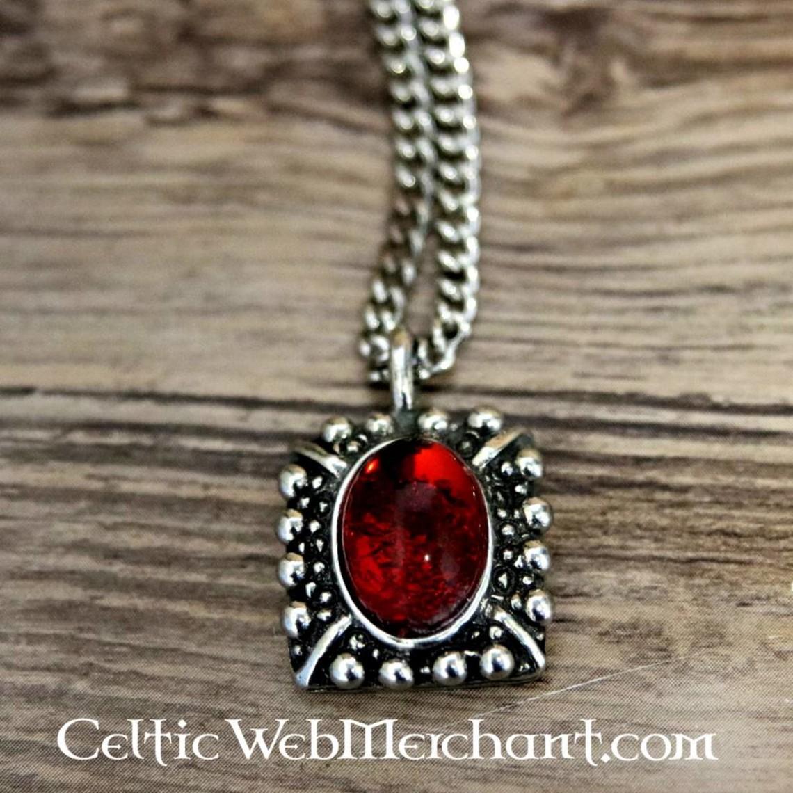Tudor naszyjnik Elisabeth, czerwony klejnot, posrebrzane