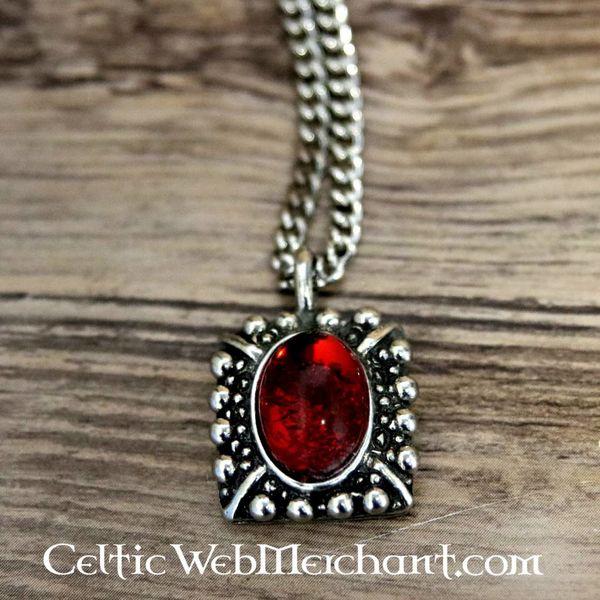 Tudor necklace Elisabeth, red gem, silvered