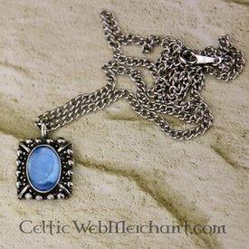 Tudor halsband Elisabeth, blå pärla, silver