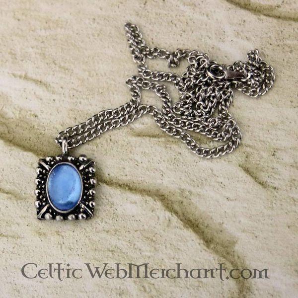 Tudor necklace Elisabeth, blue gem, silver