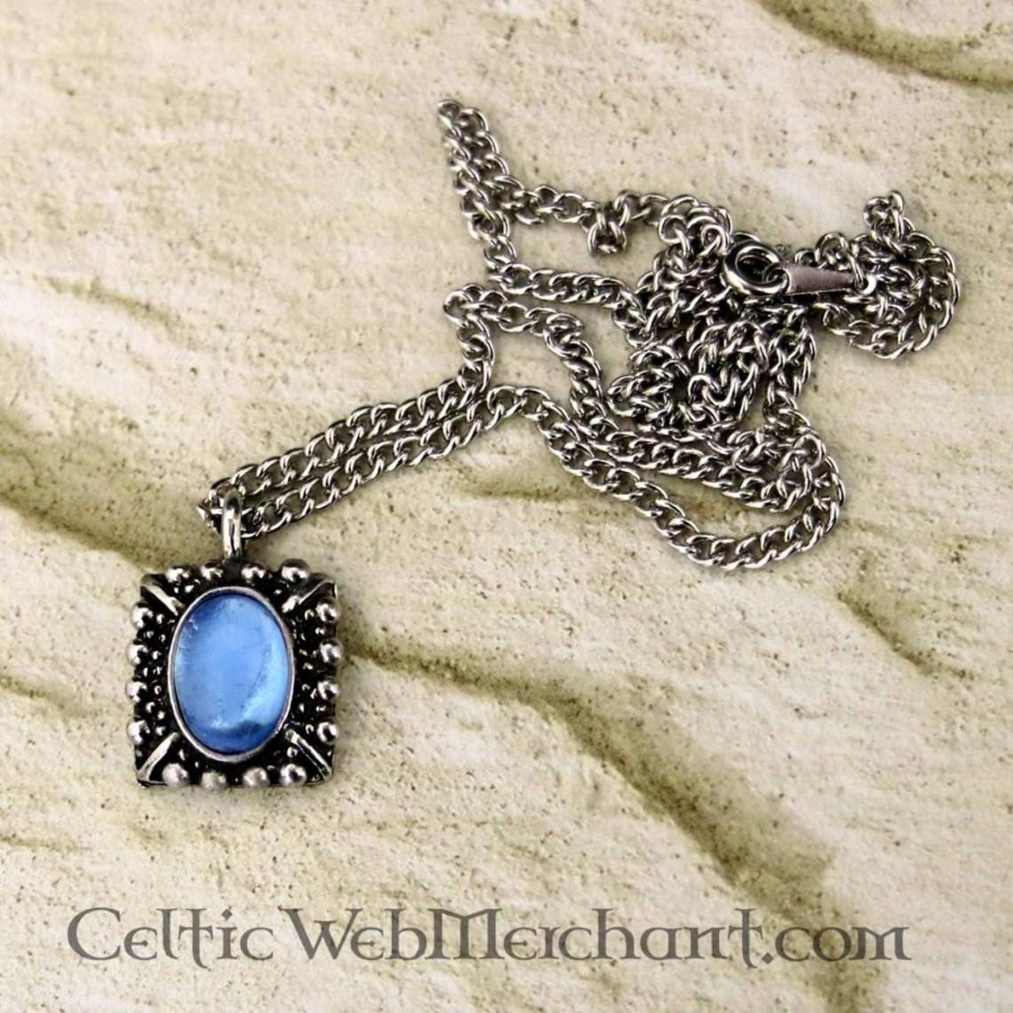 Collier Tudor Elisabeth, gemme bleue, argent