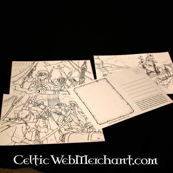 Establecer colorear tarjetas postales Pirata