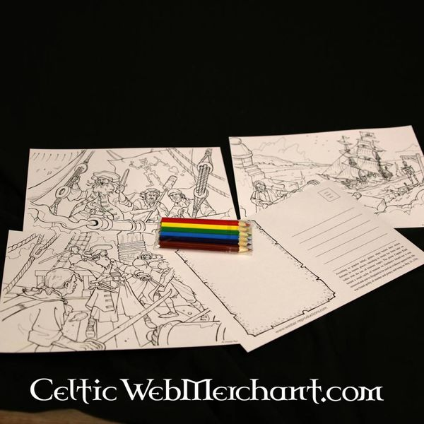 Set colouring postcards Pirate