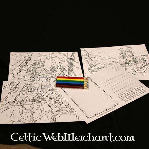 Set de cartes postales à colorier Pirate