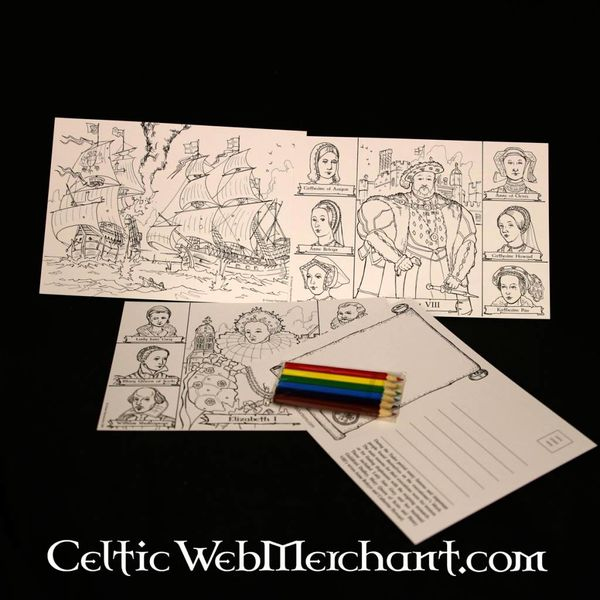 Set Färbung Postkarten Tudor