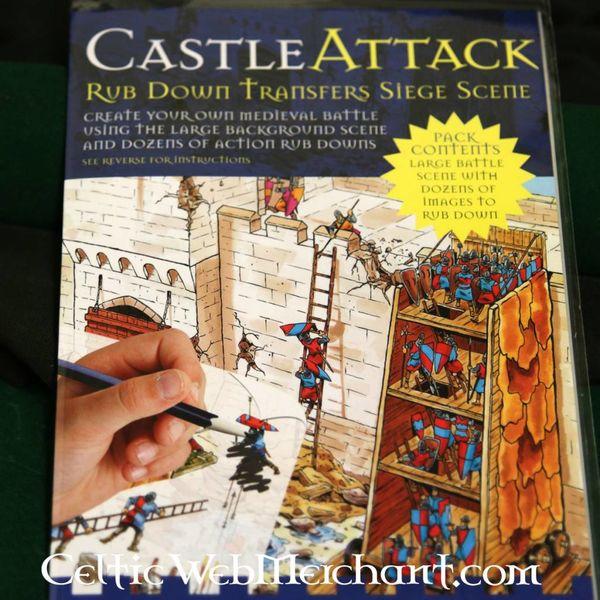 Frotar abajo panorama Medieval asedio