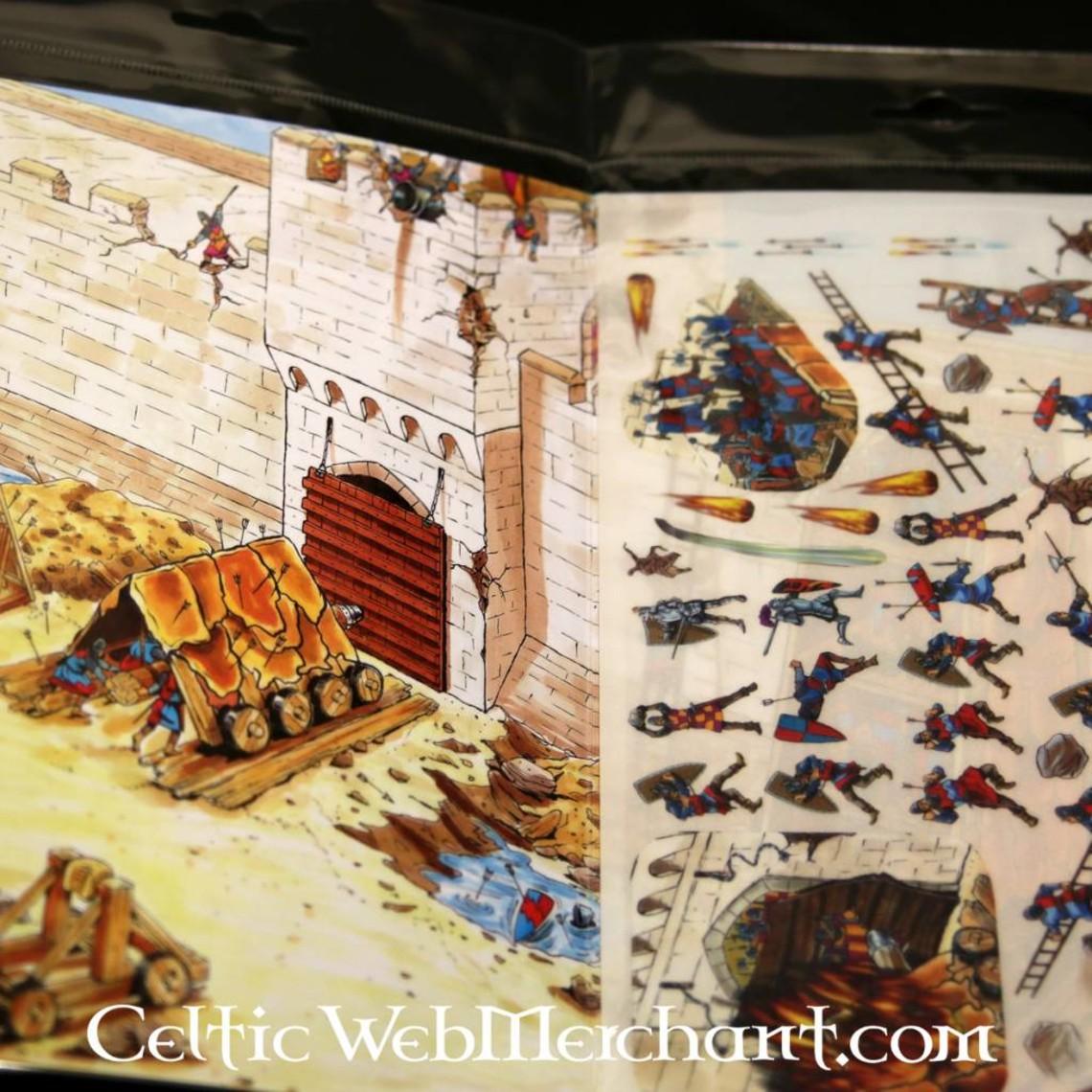 Rubbelbild mit Panorama Mittelalterliche Belagerung