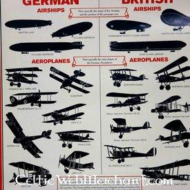 WW I Aircraft Identifizierungs-Plakat