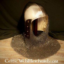 Ulfberth 14 wieku przyłbica z kołnierz kolczy płaskie Pierścienie Okrągłe nity