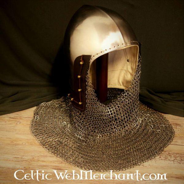 Ulfberth 14 wieku przyłbica z Aventail płaskich pierścieni okrągłymi nitami