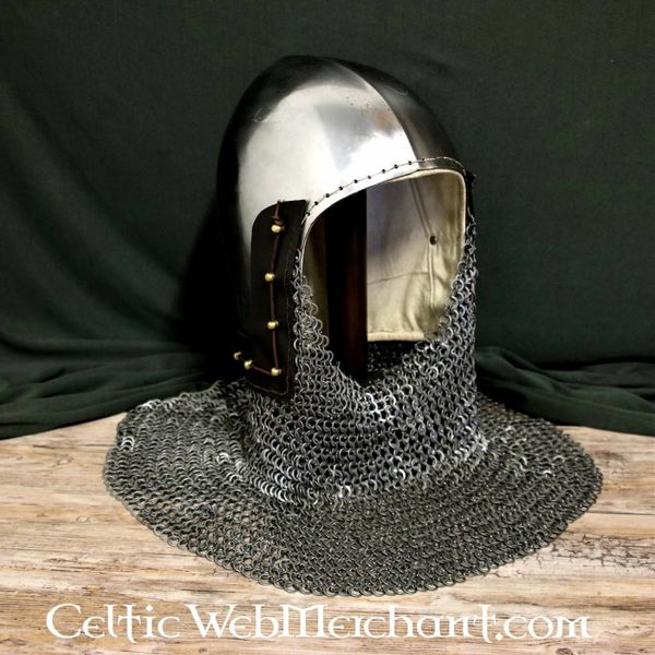 Ulfberth 14th century bascinet with aventail flat rings round rivets