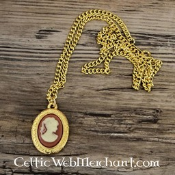 Cameo necklace, large, gilded