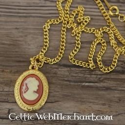 Cameo Halskette, große, vergoldete