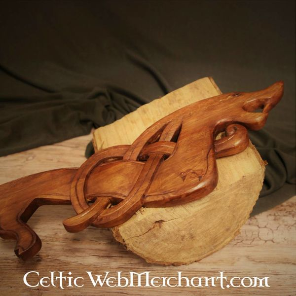 Dragon Viking en bois regardant à droite