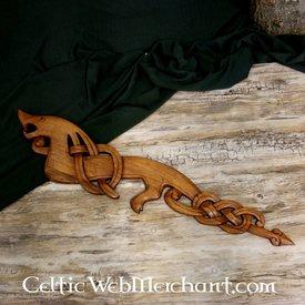 dragão Viking de madeira olhando para a esquerda
