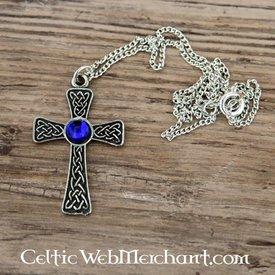 Ciondolo croce annodato, blu