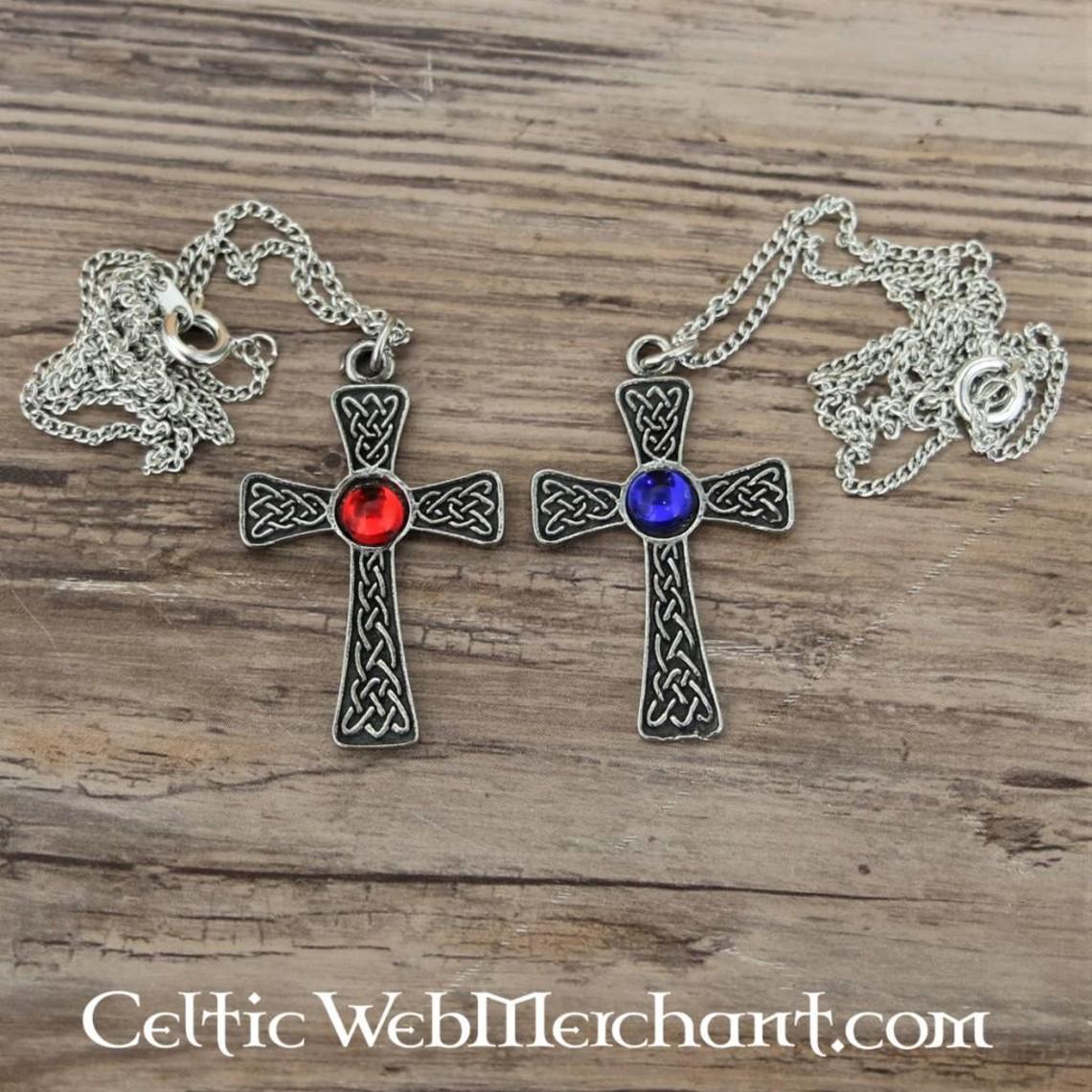 Pendentif croix nouée, bleu