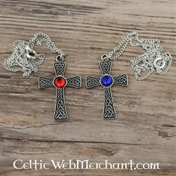 Knotted cross pendant, blue