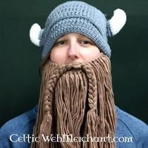 Gebreide vikingmuts met baard L