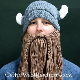 Stickad Viking mössa med skägg L