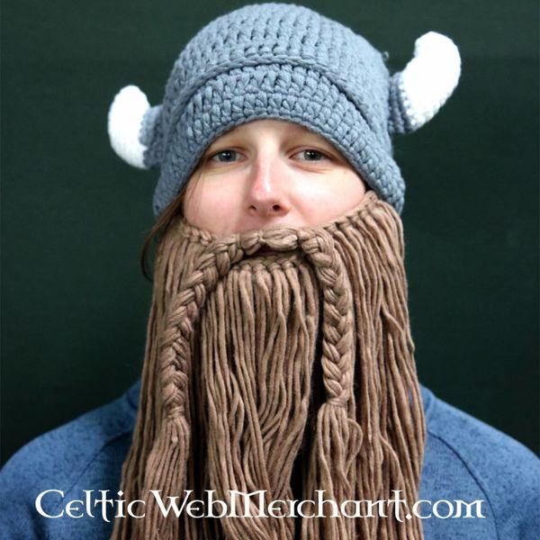 Strikket Viking cap med skæg L
