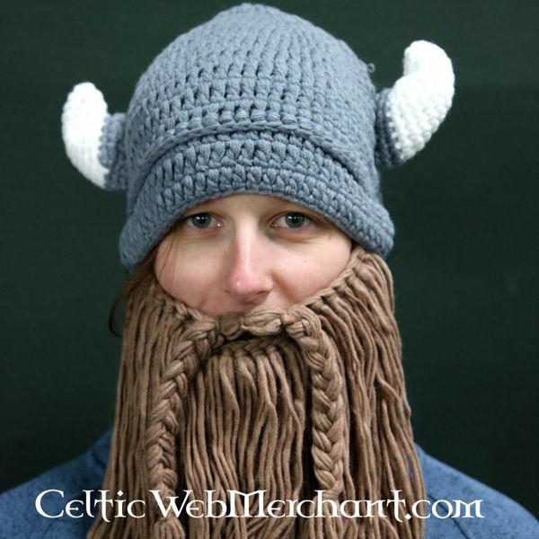 Knitted Viking cap with beard L