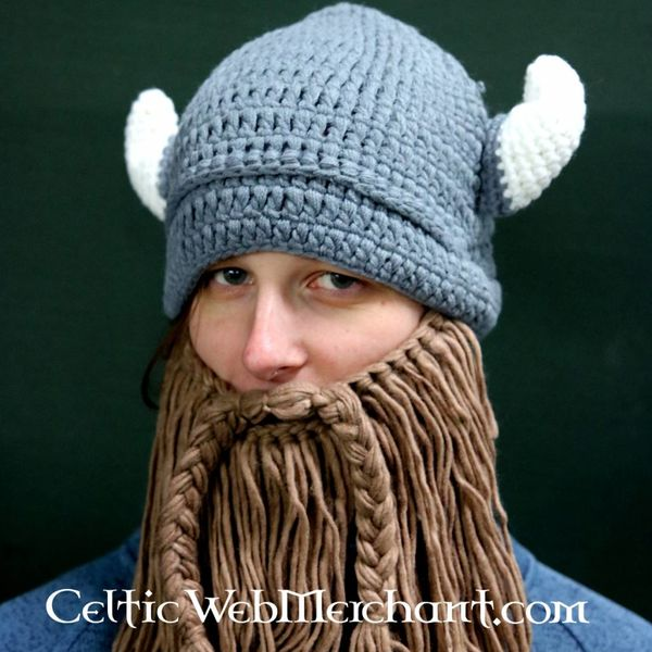 Knitted Viking cap with beard M