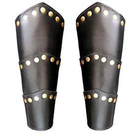 Läder rustningsarmar Victor, svart